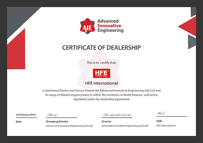 AIE Selects HFE International as Engine Sales & Services Provider